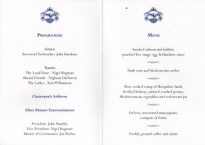 50th Anniversary menu centre pages