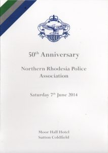 50th Anniversary menu front cover