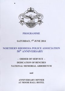 50th Anniversary programme front cover