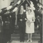 Insp.THORNYROFT'S wedding – Livingstone 1962 (?)(L-R): the arm ? ; Andy Lomax?; Cadets O'Brien & then Alan Davenport; A/Insp John Brake; Snr/Supt Jack SEED behind PeterThornycroft; At rear ?; Mrs. Thrnycroft; Dick Bellamy on steps; Mike McEwan (Scouse); (?) Des HOWSE?