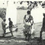Livingstone mess dinghies on the Zambesi just above the Falls(L-R: Jock McCleod; Bill Davidson; John Swaine; Pete Stevens (in boat); Des Howse