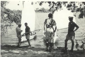 Livingstone mess dinghies on the Zambesi just above the Falls(L-R: Jock McCleod; Bill Davidson; John Swaine; Pete Stevens (in boat); Des Howse