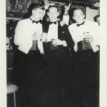 Mess dress in the Livingstone Mess bar - after a mess dinnerL-R: Pete Stevens (ex RAF); Pete Nichols (BSAP Vic Falls- visiting); Des Howse; Brian Soulsby