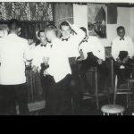 Bar on a dining –in night – Northern Rhodesia Police Mess – Livingstone – 1963 (?)(L-R): ? ; Dave Deptford (Mobile Unit); Dick Bellamy (PMC); Jock Boyd (M U); Bill Davidson; Brian Soulsby?; Peter Thornycroft.