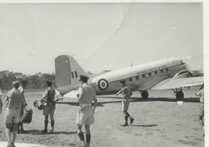 Arriving in Lundazi – Lumpa uprising – Northern Rhodesia -1964(NRAF DC 3 'Dakota')Centre back to camera – Sam BEARD? Ian Coulson looking at watch