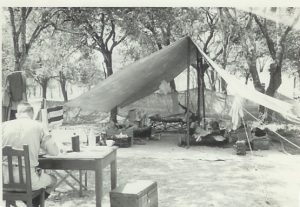 Our tent – Lundazi 1964. Ian Coulson with back to camera