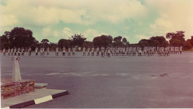 Evening parade of standby platoons – ZP Mobile Unit – Kamfinsa – Circa 1967