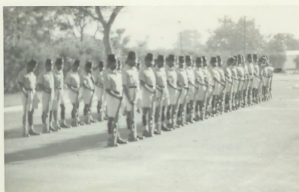 Platoon on Livingstone detachment – rehearsing for guard-of-honour(1965/66)