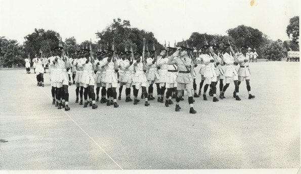 Pass-out parade – Recruits march past in advance order – ZP Mobile Unit Training Wing – Kamfinsa – Circa 1967 (Mel to front)