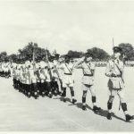 'March off in column of threes' – recruit pass-out parade – ZP Mobile Unit – Kamfinsa – Circa 1967 (Frank Buckingham leads)