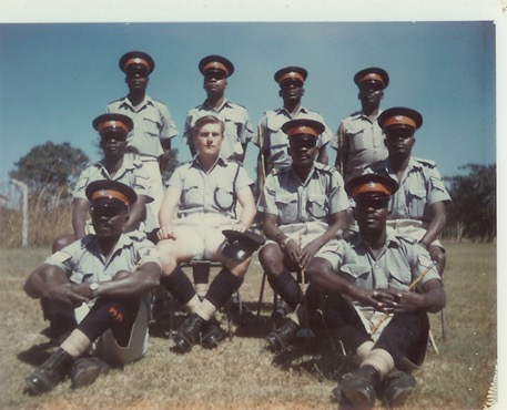 Instructional satff – ZP Mobile Unit – Kamfinsa – Circa 1967Rear L-R; ? ? ? ?Centre: ? Law instructor; Mel O'B; Sub Insp Mwanamane; ?Front: ? ; Sgt. Chingunya (Javelin Thrower)