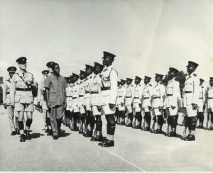 Minister for Western Province inspects pass-out parade – ZP Mobile Unit – Kamfinsa – Circa 1967L-R: ? ; O'Brien; ? ; A/Supt. Frank Buckingham; Minister for Western Province